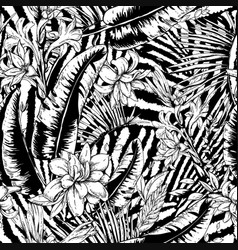 monochrome seamless pattern tropical vector image