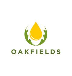 Oak oil logo nature organic leaf icon simple vector