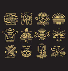 Old barbershop emblems and labels vector