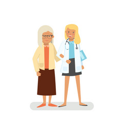 old lady with doctor vector image