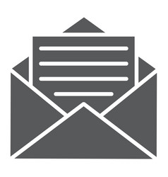 open mail glyph icon envelope and letter email vector image