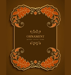 ornamental card with border golden leaves vector image