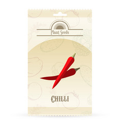Pack of chilli seeds icon vector