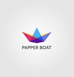 Paper boat overlapping logo colorful emblem design vector