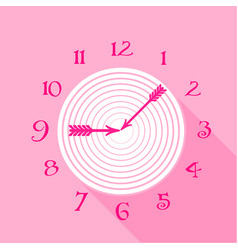 Pink wall clock icon flat style vector
