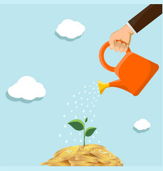 plant with leaves grows out money vector image