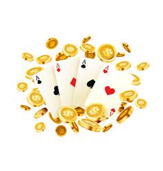 poker banner golden coins jackpot casino 3d vector image