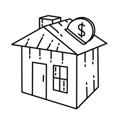 Real estate icon doodle hand drawn or outline vector