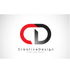 Red and black cd c d letter logo design creative vector