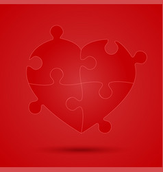 red piece puzzle heart valentines day love vector image vector image