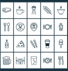 Restaurant icons set collection of beverage vector