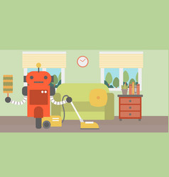 robot cleaning carpet with vacuum cleaner vector image