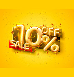 Sale 10 off ballon number on yellow background vector