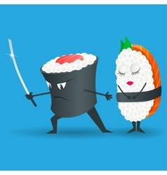 Samurai sushi cartoon character vector image