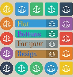 Scales balance Set of twenty colored flat round vector