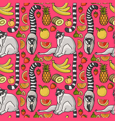 Seamless pattern with cute cartoon lemur tropical vector
