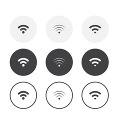 set 3 simple design wifi icons rounded vector image