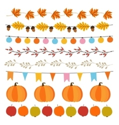 set cute autumn fall garlands with lights vector image