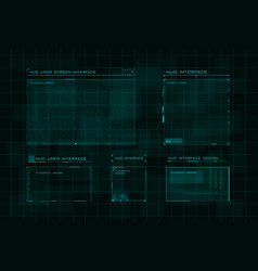 set hud user screen interface on dark green vector image