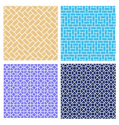 Set of seamless brick pattern in mosaic style vector