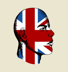 sketch a face with united kingdom insignia vector image