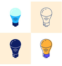 smart light bulb icon set in flat and line styles vector image