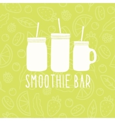 Smoothie bar logo 3 different mason jars vector