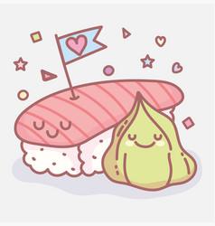 Sushi and wasabi love menu restaurant cartoon food vector