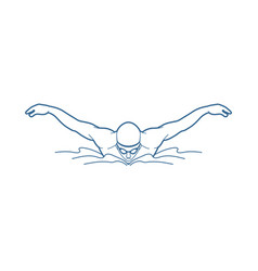 swimming butterfly man swimming outline graphic vector image