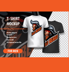 T-shirt mockup with pirate side head fully vector