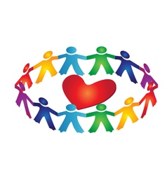 Teamwork people around a heart vector image