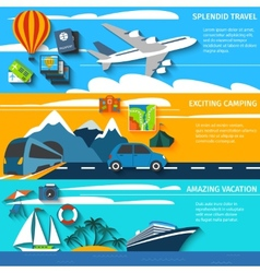 Travel vacation camping banners set vector