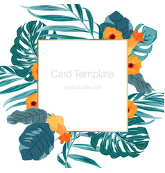 Tropical card template green leaves orange flowers vector