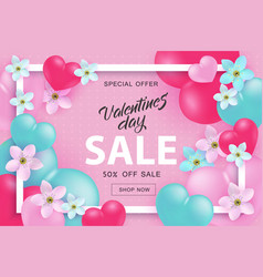 valentine day sale and special offer banner with vector image