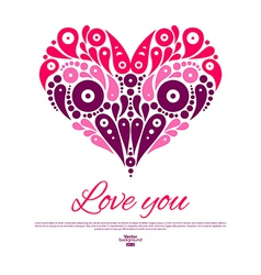 Valentines Day card with decorative stylish heart vector