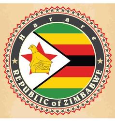 vintage label cards zimbabwe flag vector image