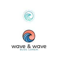 wave logo set ocean or sea on white vector image