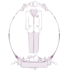 Wedding groom suit in frame vector image