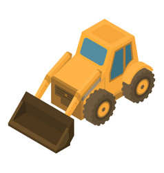 Wheel bulldozer icon isometric style vector