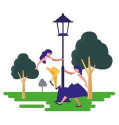 women dancing with the lamp outdoors vector image