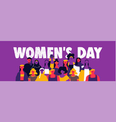Womens day web banner of diverse woman team vector