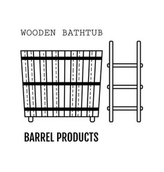 Wooden bathtub bucket made from wood flat icon vector