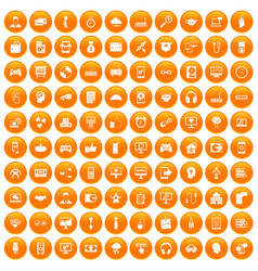 100 programmer icons set orange vector image