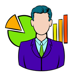Businessman and graphs behind him icon vector