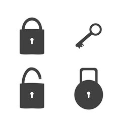 lock and key sign icon set security concept vector image vector image