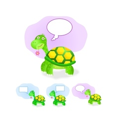 thinking turtle icon set with chat box vector image vector image