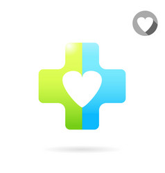heart icon on medical cross vector image