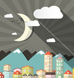 Night Landscape Town or City in Flat Design Retro vector image vector image