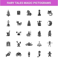 Set of fairy tales flat design magic icons and vector image