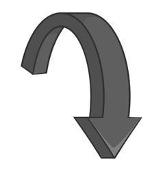 Big arrow down icon black monochrome style vector